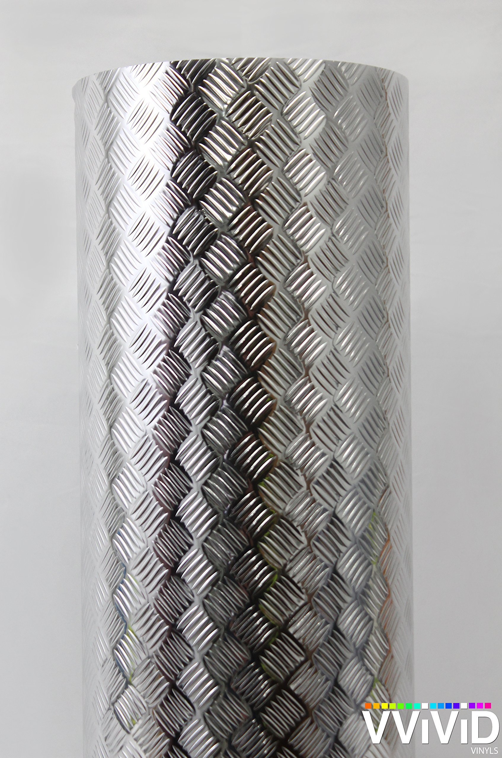 Industrial Utility Diamond Plate Metallic Chrome Finish Vinyl Wrap 17.8'' x 6.5ft Contact Paper Adhesive Roll for Shelves Walls Flooring