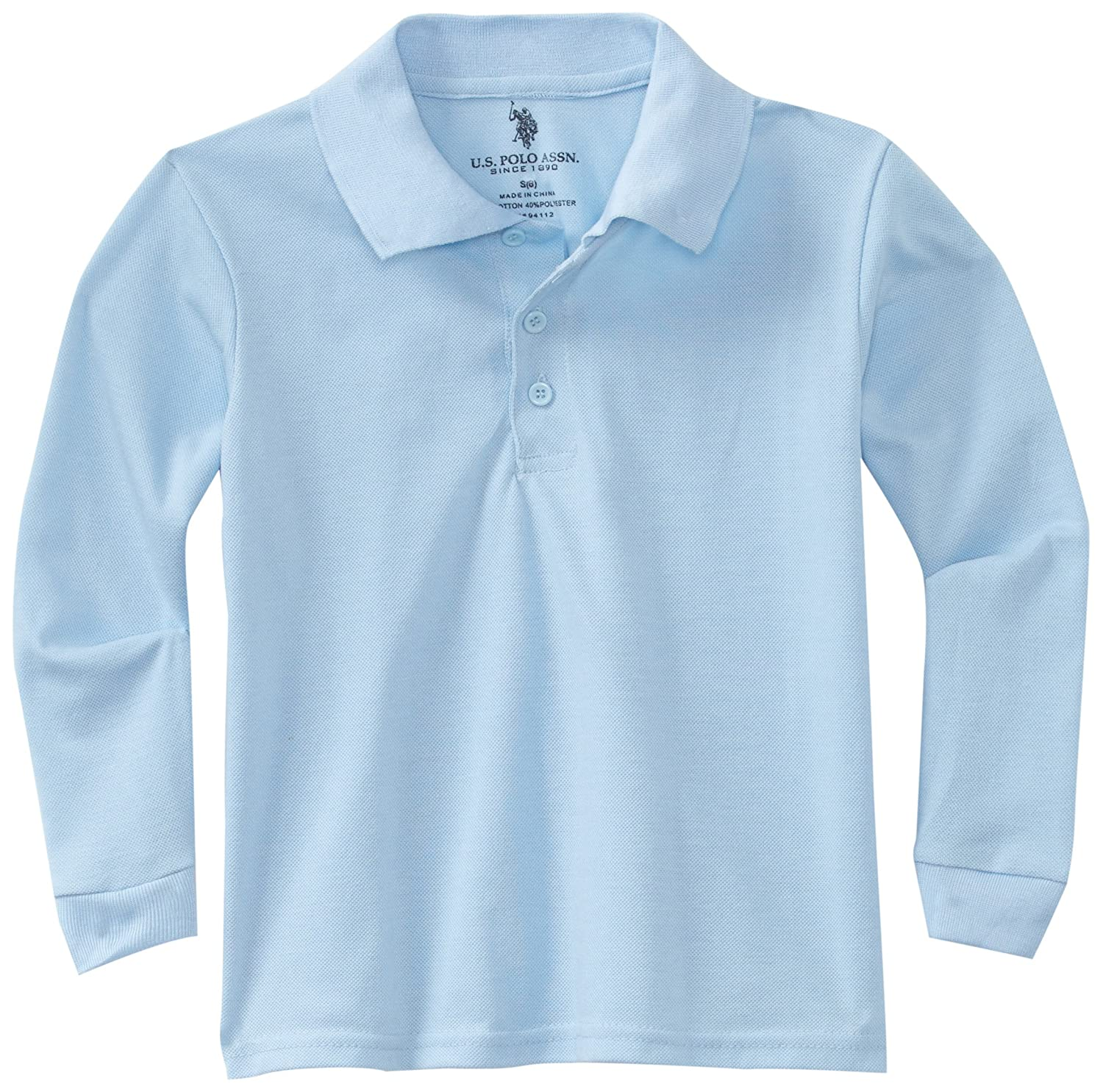 U.S. Polo Assn. Big Boys' Polo Shirt (More Styles Available), Pique Blue-6615, 10/12 U.S. Polo School Uniform