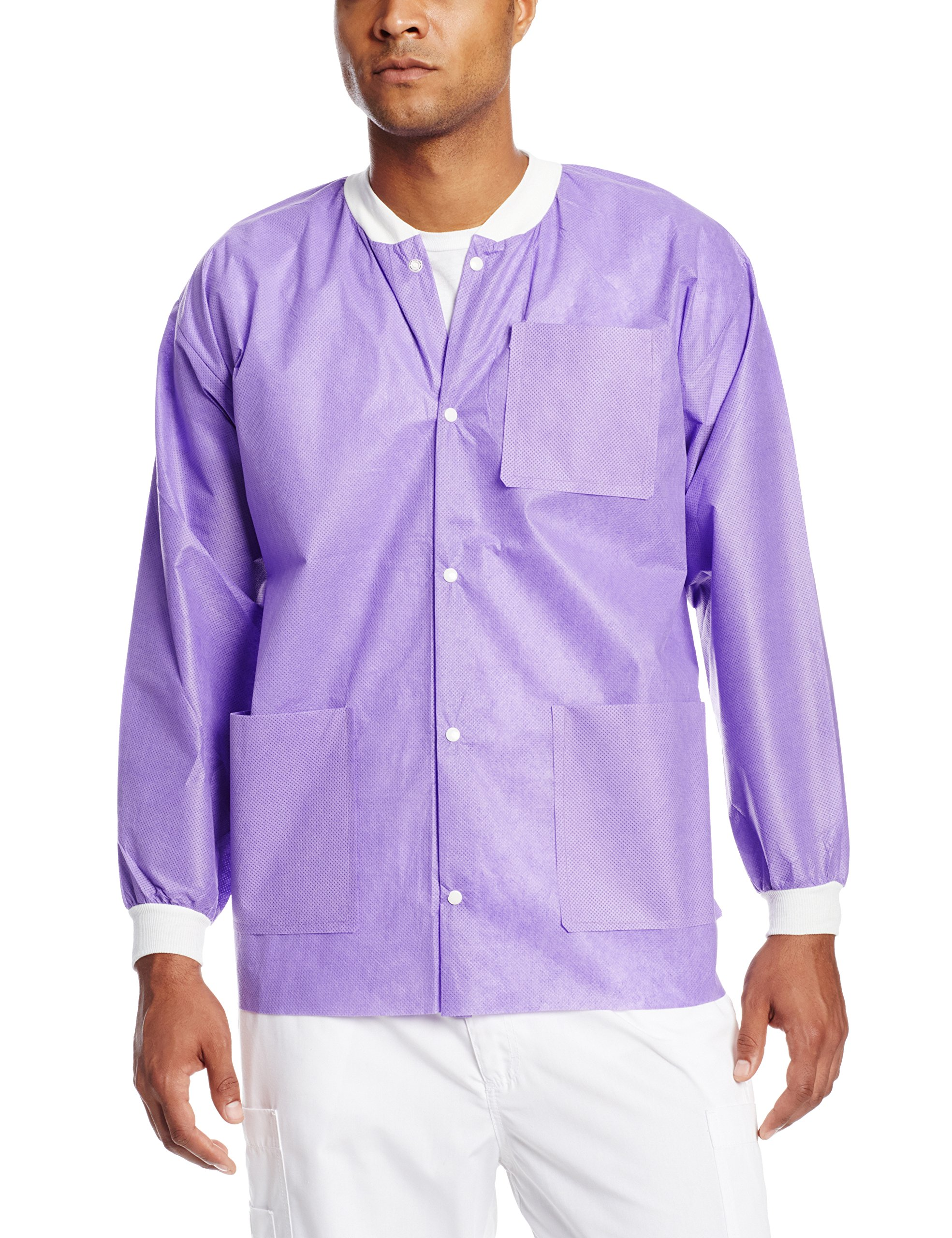 ValuMax 3630PPS Extra-Safe, Wrinkle-Free, Noble Looking Disposable SMS Hip Length Jacket, Purple, S, Pack of 10