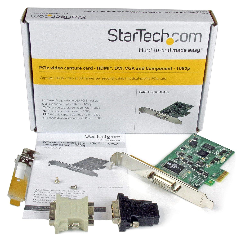 StarTech.com PEXHDCAP2 - Tarjeta capturadora de Alta definición PCI Express (HDMI/VGA/DVI y vídeo por componentes) Color Verde y Plata