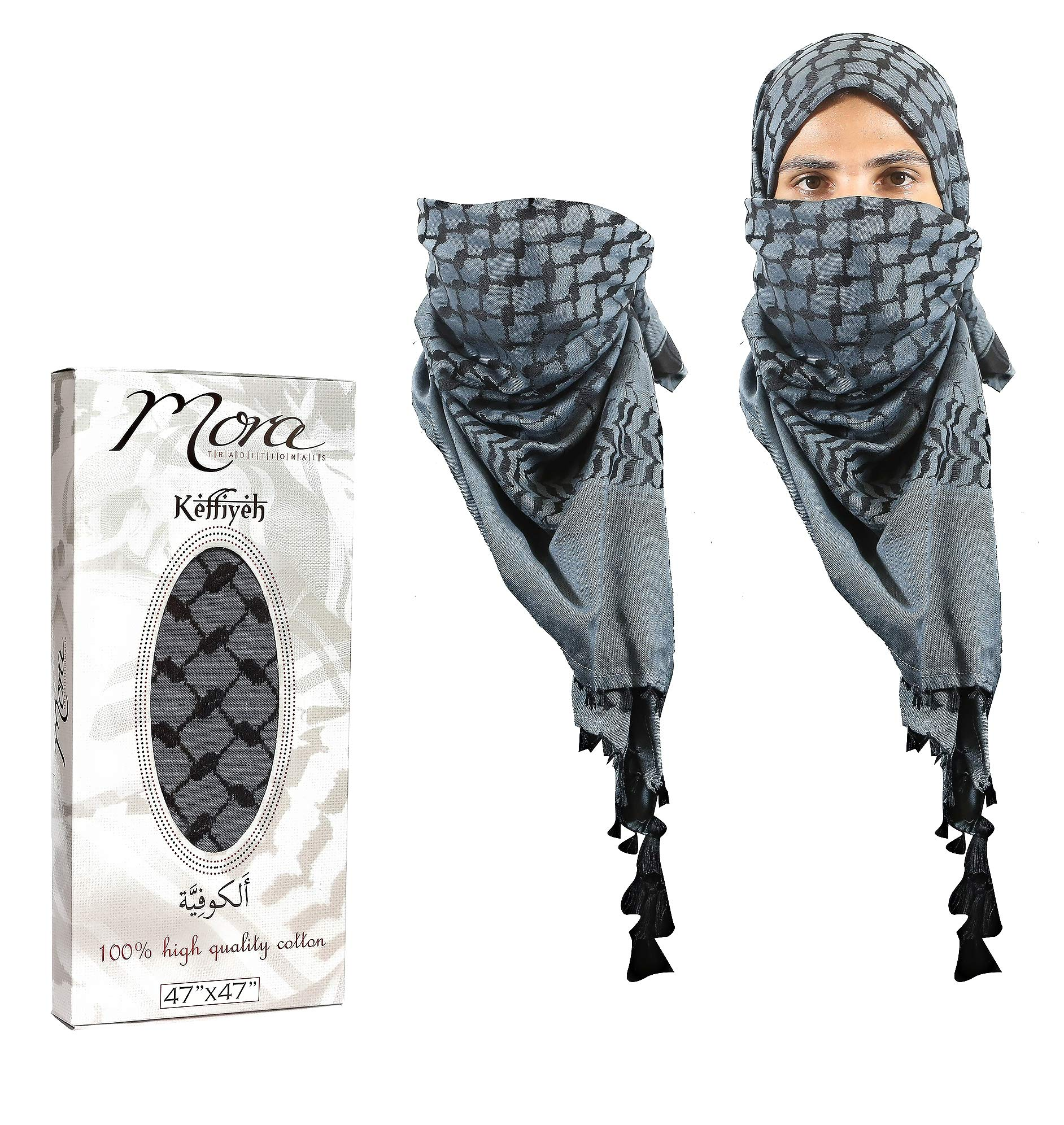 04f5220202b Mora Premium Shemagh Scarf - Beautiful gift box - Unique Stylish Design  Large - 100% Cotton Arab Tactical Military Desert Head Neck Keffiyeh Wrap  with ...