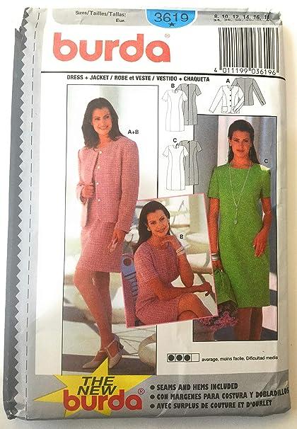 Burda 3619 Sewing Pattern Misses Jacket Dress Size 8-18