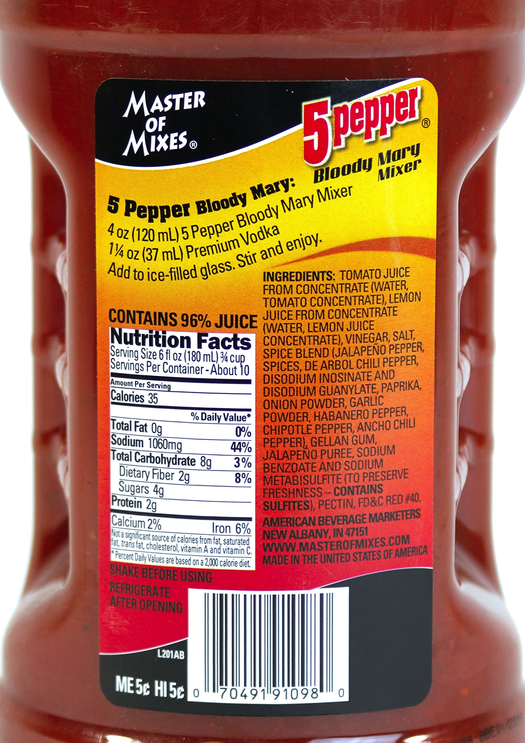 Master of Mixes 5 Pepper Extra Spicy Bloody Mary Drink Mix, Ready To Use, 1.75 Liter Bottle (59.2 Fl Oz), Pack of 3 by Master of Mixes (Image #4)