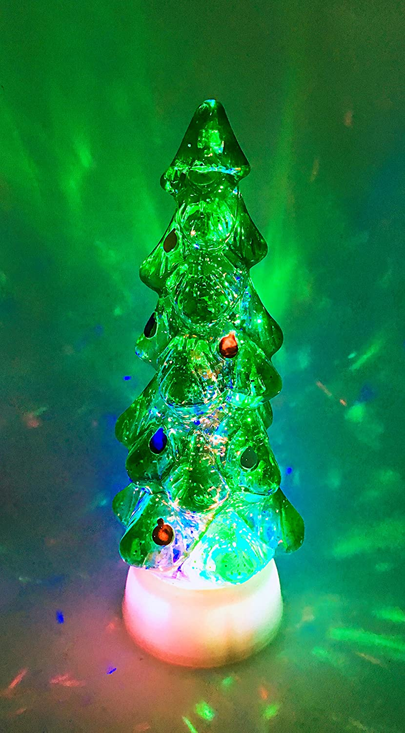Amazon.com: Christmas Tree Swirl Dome Snowglobe With Color Changing ...