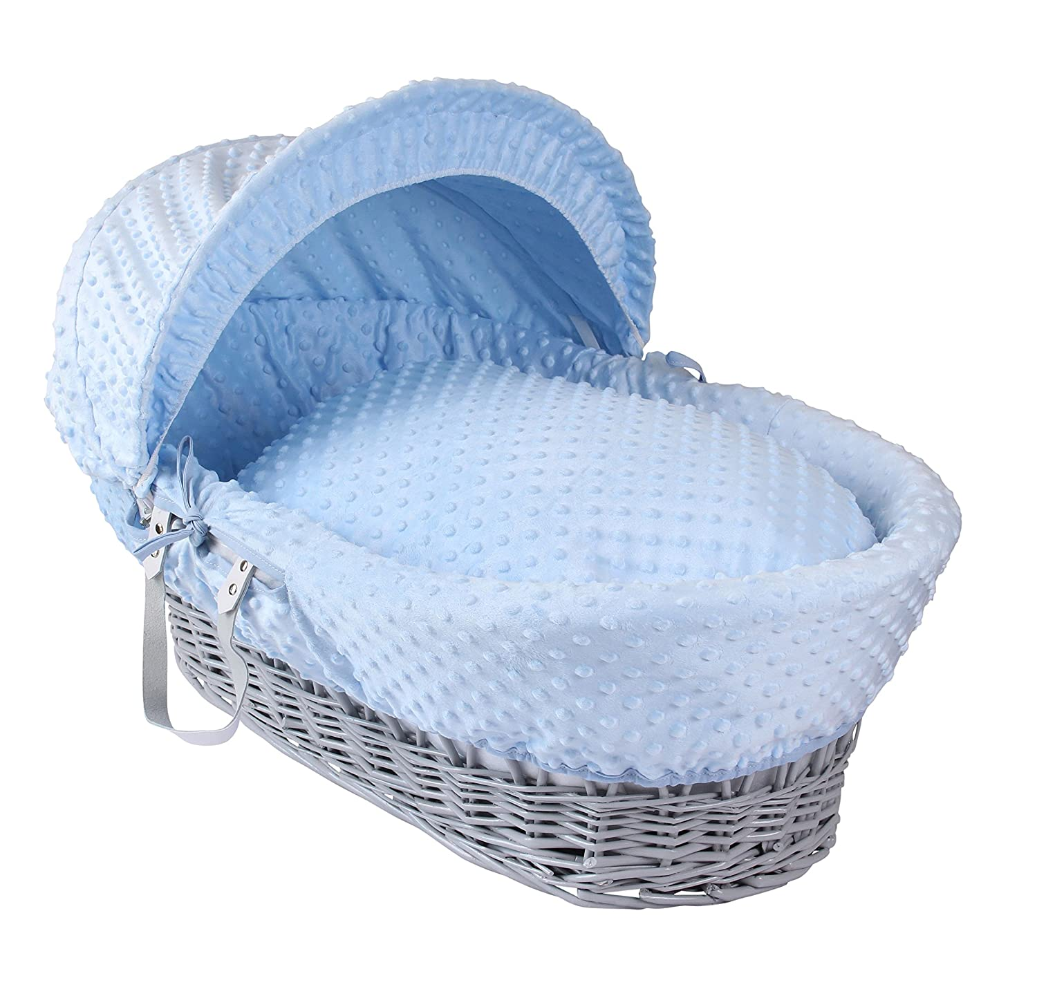 Clair de Lune Dimple Grey Wicker Moses Basket, Blue CL4730GB