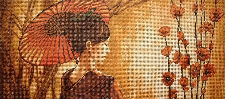 hudemas Needlepoint Kit Geisha 28.7x12.6 Printed Canvas 330 73x32cm.