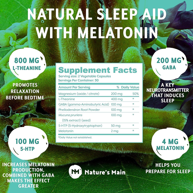 Sleep Aids for Adults Extra Strength ǀ Sleeping Pills with Melatonin, L-Theanine, 5htp 100mg, GABA...