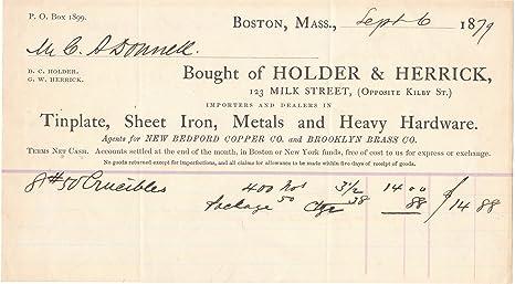 Amazon Com 1879 Metals And Heavy Hardware Dealers Billhead From Holder Herrick Boston Everything Else