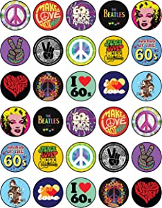 30 x Edible Cupcake Toppers Themed of 60's Sixties Collection of Edible Cake Decorations   Uncut Edible on Wafer Sheet