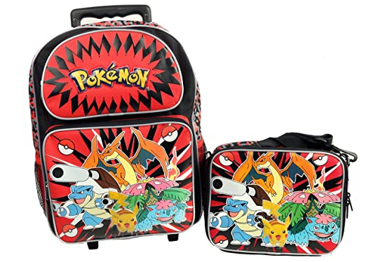 b7a09528620 Image Unavailable. Image not available for. Color  Pokemon Large 16 quot  Rolling  Backpack   Lunch Box Set