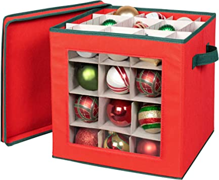 Christmas Ornament Storage Box with Lid-Store up to 80 Ornaments and Holiday Decor a Storage Cube and Christmas Box Container to Preserve Holiday Decorations Tear Proof Polypropylene Non-Woven Fabric
