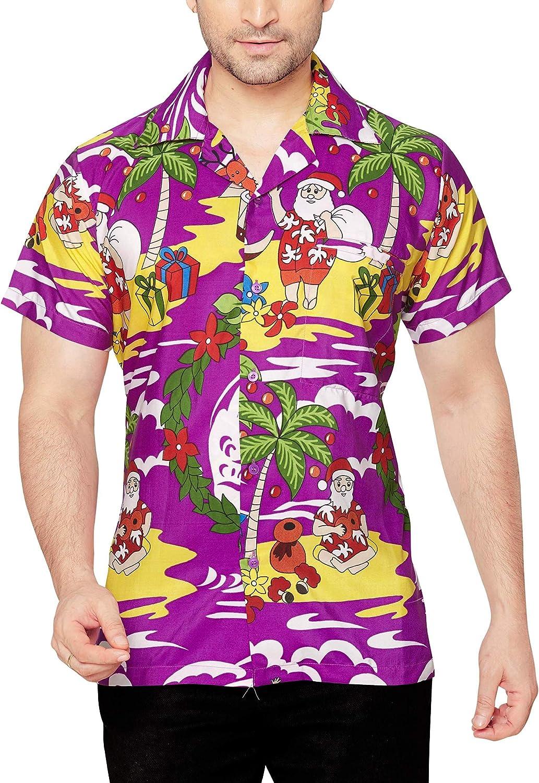 CLUB CUBANA Xmas Camisa Hawaiana Florar Casual Manga Corta Ajustado para Hombre: Amazon.es: Ropa y accesorios