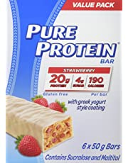 Pure Protein Bars, Gluten Free, Snack Bar, Strawberry with Greek Yogurt Style Coating, 50 gram, 6 Count