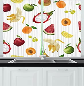 Ambesonne Watercolor Kitchen Curtains, Abstract Fruit Paintbrush Style Watermelon Apple Banana Theme, Window Drapes 2 Panel Set for Kitchen Cafe Decor, 55