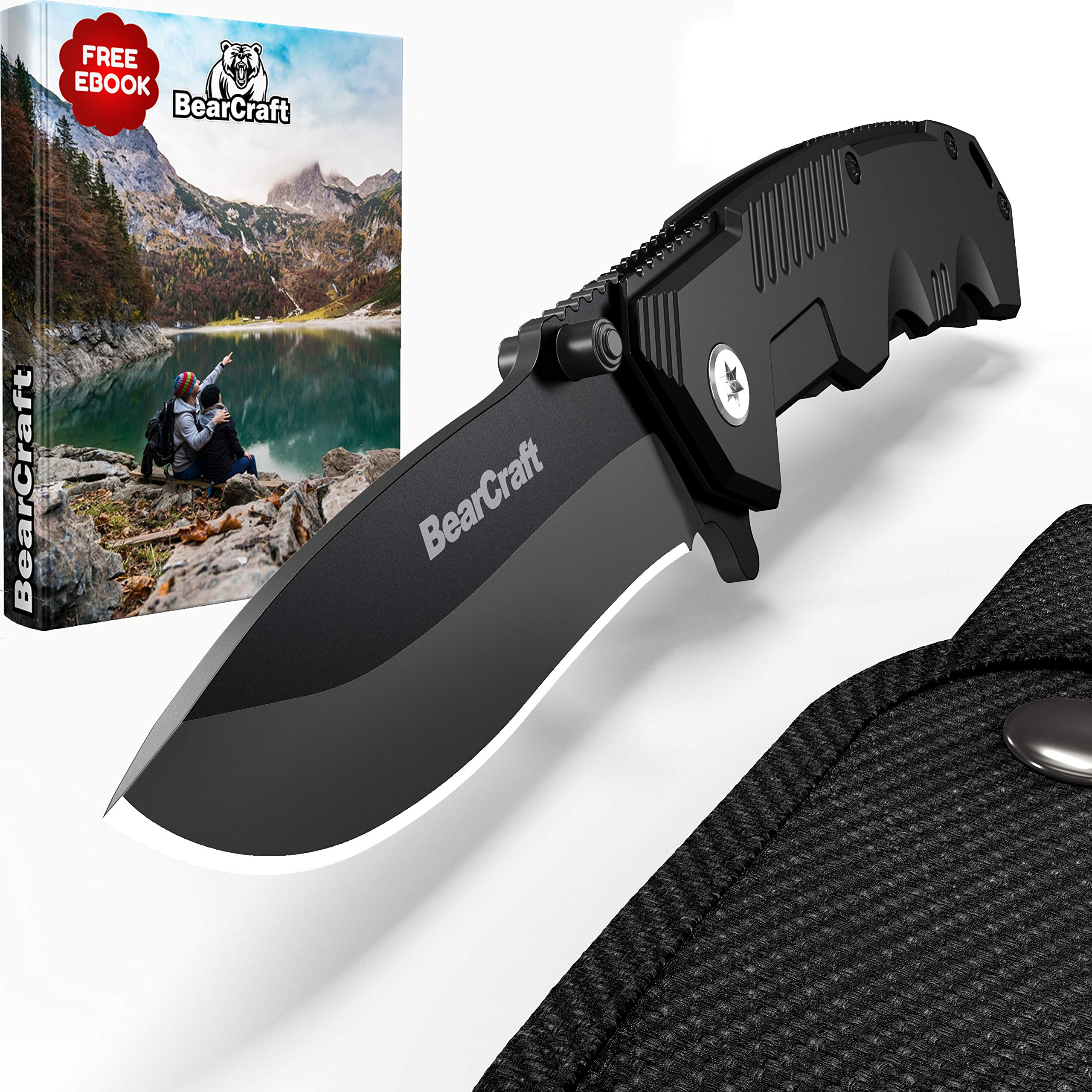 BearCraft Folding Knife in Matt Black inclusiveFREE eBook | Outdoor Survival Pocket Knife | Small one-Hand Knife with Stainless Steel Blade and Aluminum Handle| Perfect for Work Hiking Camping by BearCraft (Image #1)