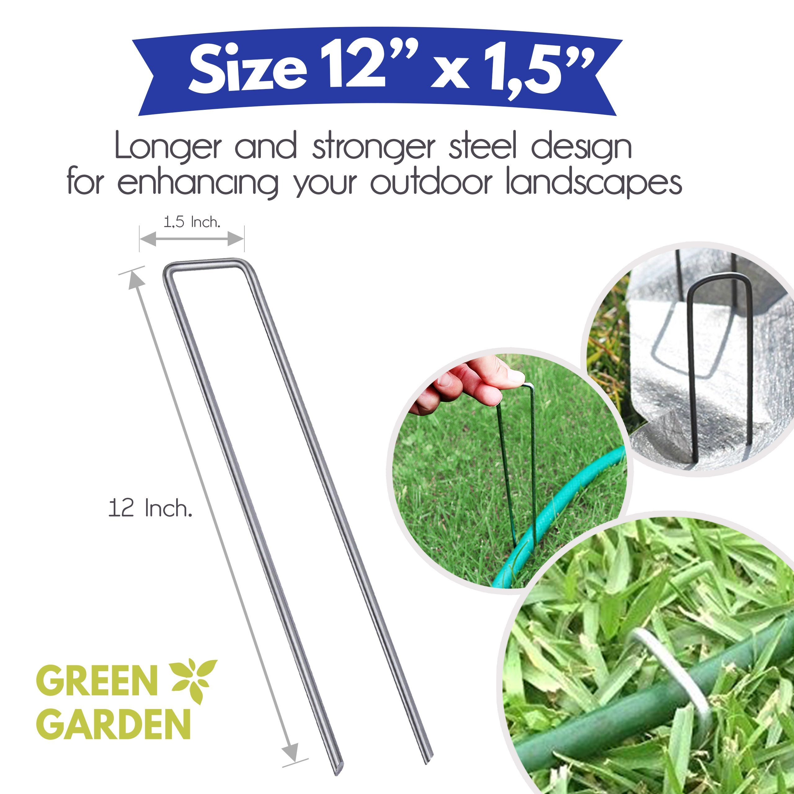 GreenGarden 12 Inch Garden Landscape Staples Stakes Pins SOD | 100 Pack | Galvanized Steel | For Weed Barrier Fabric, Ground Cover, Soaker Hose, Lawn Drippers, Drip Irrigation Tubing etc. | by by GreenGarden (Image #2)