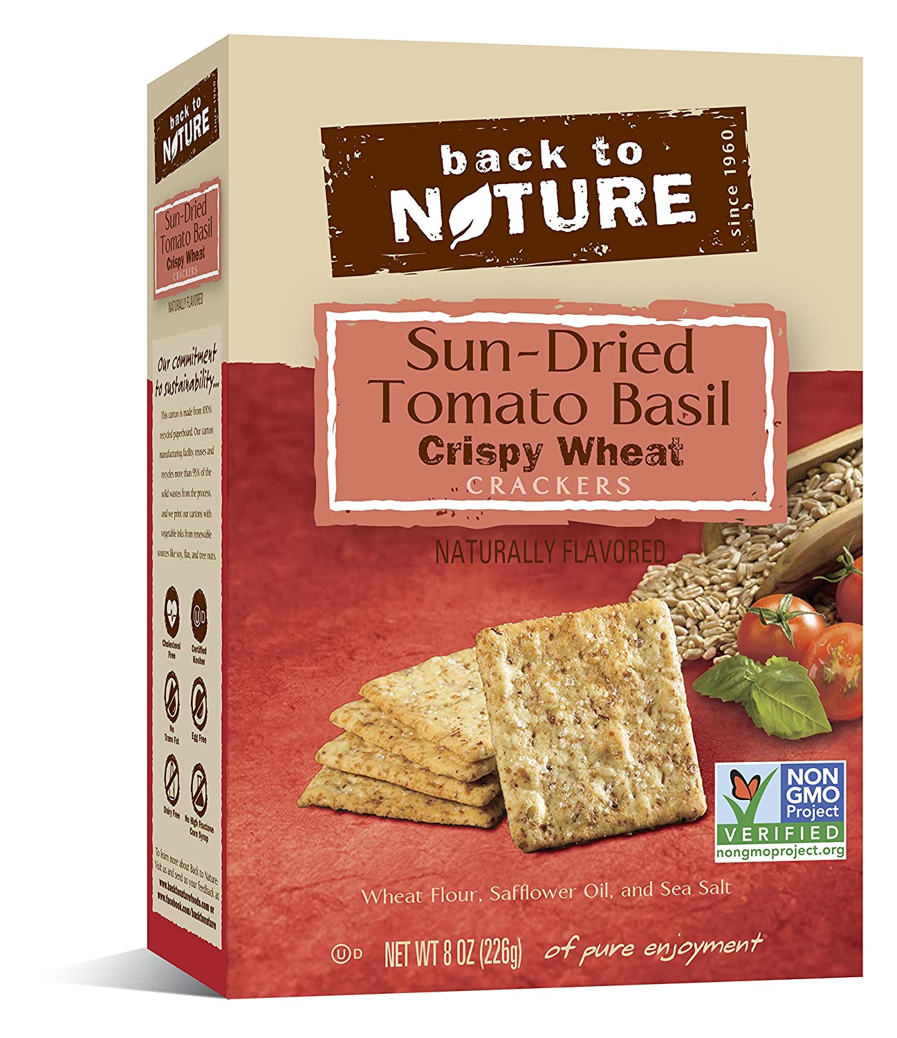Back To Nature Non GMO, Crispy Wheat Crackers, 8 ounce Boxes (Pack of 6)