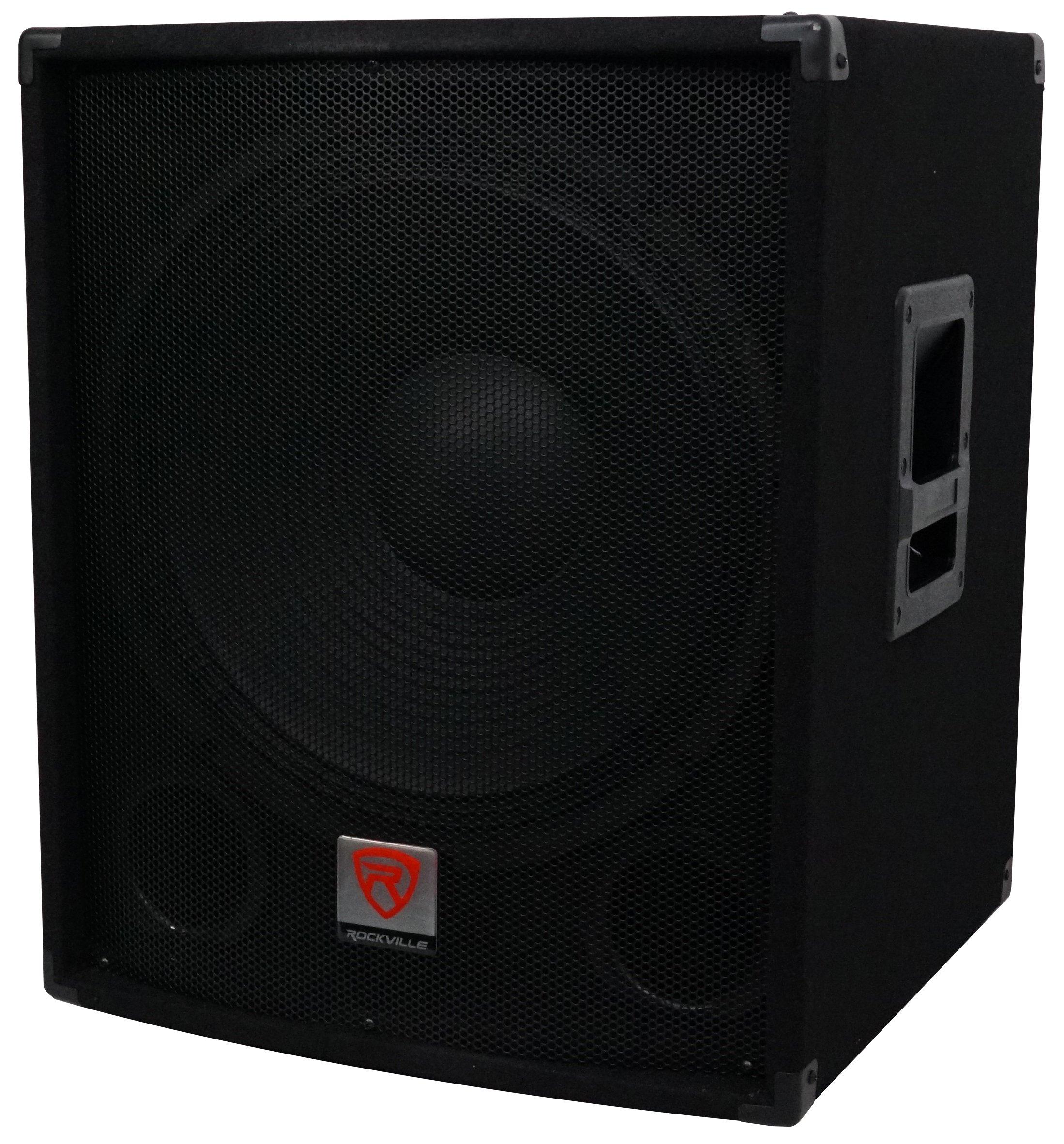 Rockville SBG1184 18'' 1000 Watt Passive 4-Ohm Pro DJ Subwoofer, MDF/Pole Mount