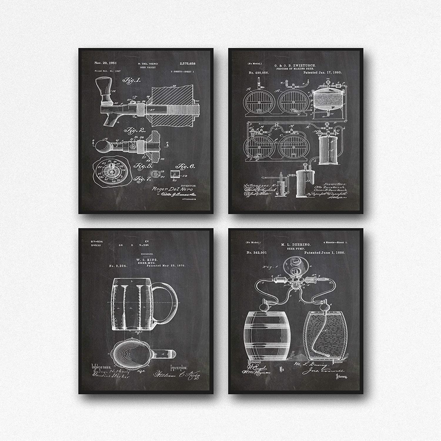 Amazon Com Craft Beer Poster Set Of 4 Beer Patent Posters Beer