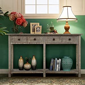 Rustic Brushed Texture Entryway Table with Storage Drawers, WeYoung Console Table with Drawers and Bottom Shelf for Living Room (Grey Wash)