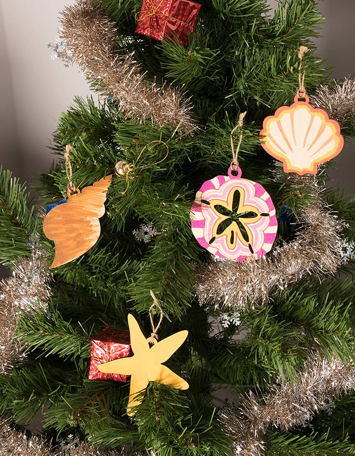 juvale unfinished wooden christmas ornaments 24 pack paintable blank xmas tree hanging wood slices for kids