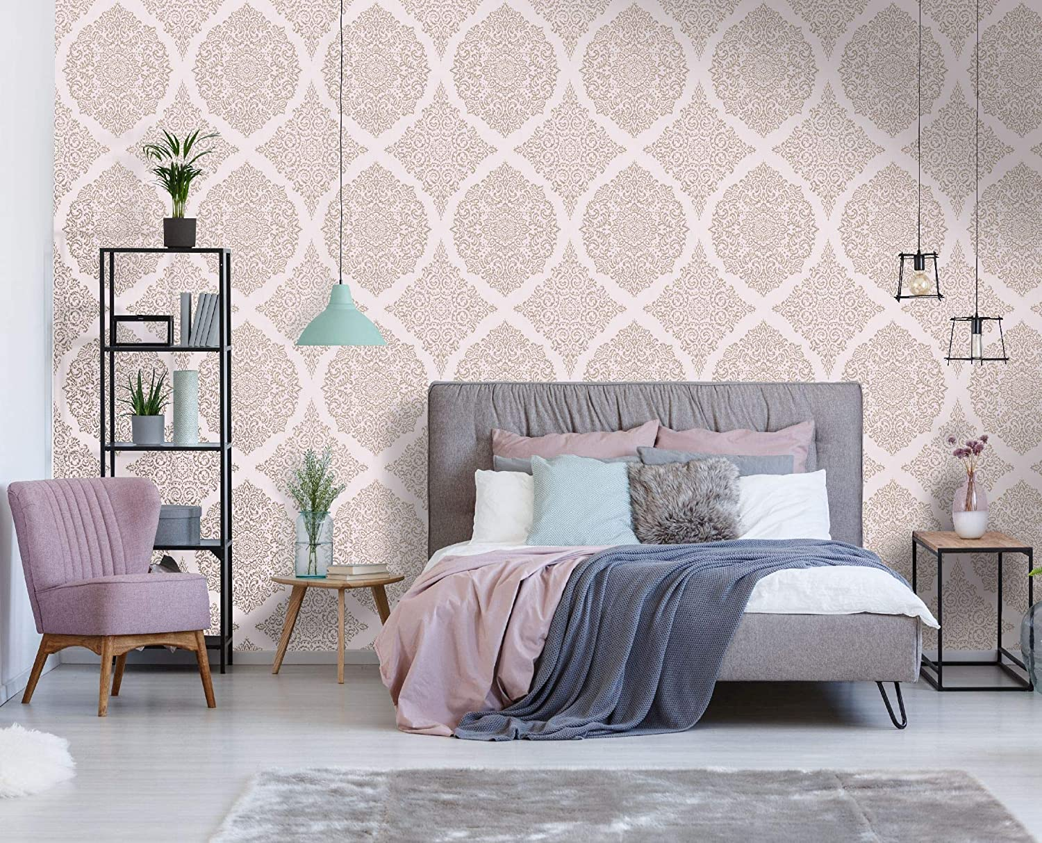 Superfresco Easy Florence Pink Rose Gold Damask Wallpaper Amazon Com