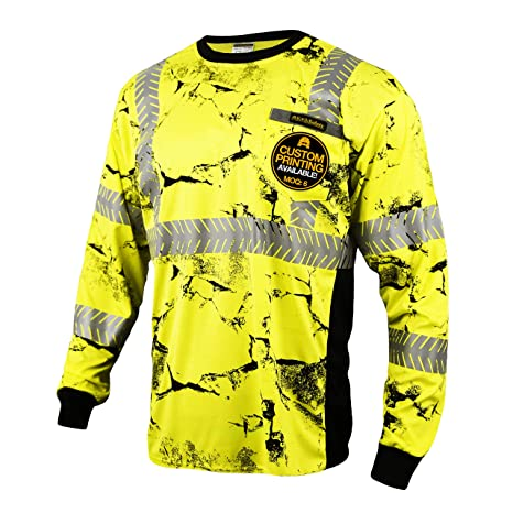 0a30725c087ca ... (Chest Pocket) Class 3 ANSI High Visibility Safety Shirt Fishbone  Reflective Tape Construction Hi Vis Clothing Men Long Sleeve Camo Yellow  Black Large