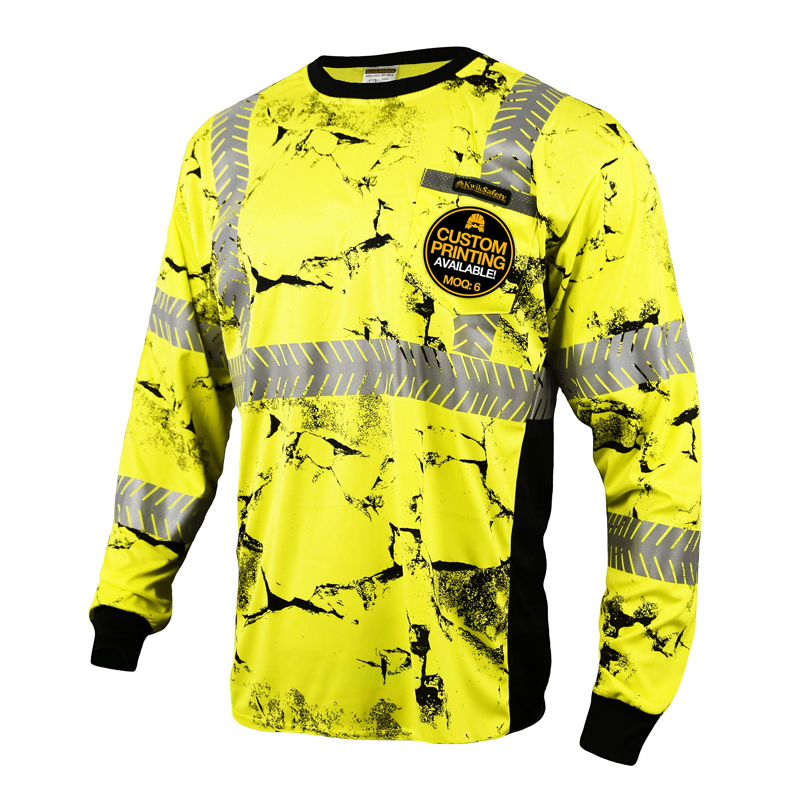 KwikSafety (Charlotte, NC) UNCLE WILLY'S WALL (Chest Pocket) Class 3 ANSI High Visibility Safety Shirt Fishbone Reflective Tape Construction Hi Vis Clothing Men Long Sleeve Camo Yellow Black 2XL