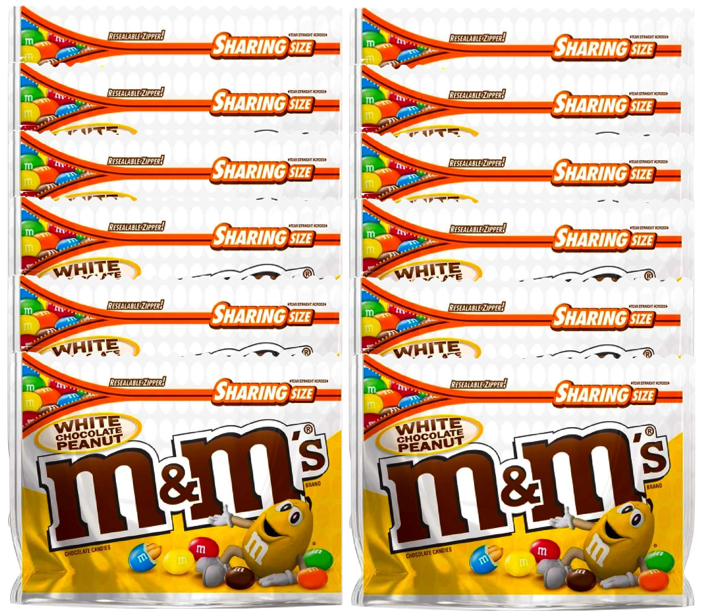 NEW M&M's White Chocolate Peanut Candies Limited edition- 9.6oz (12) by M&M'sCandy