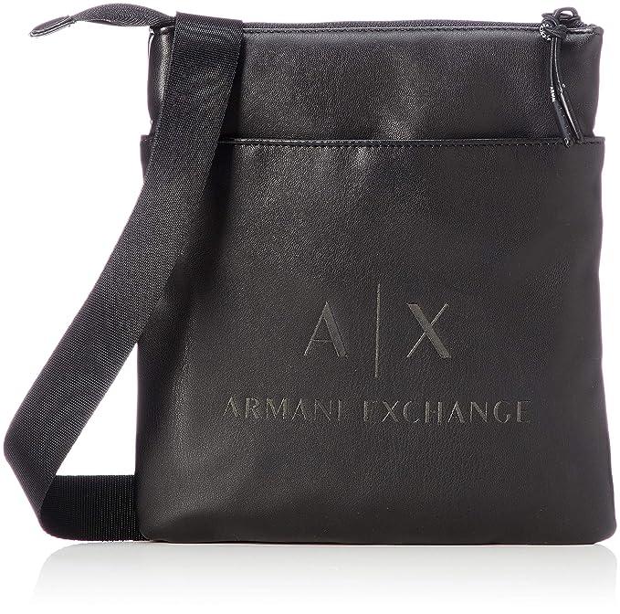 Negro black Crossbody Armani Exchange Hombre Bag Bolso Flat Bandolera Small 6q8xTZz