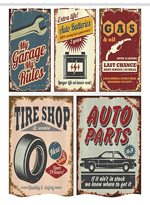 Ambesonne 1950s Stall Shower Curtain Vintage Car Signs Automobile Advertising Repair Vehicle Garage Classics Servicing