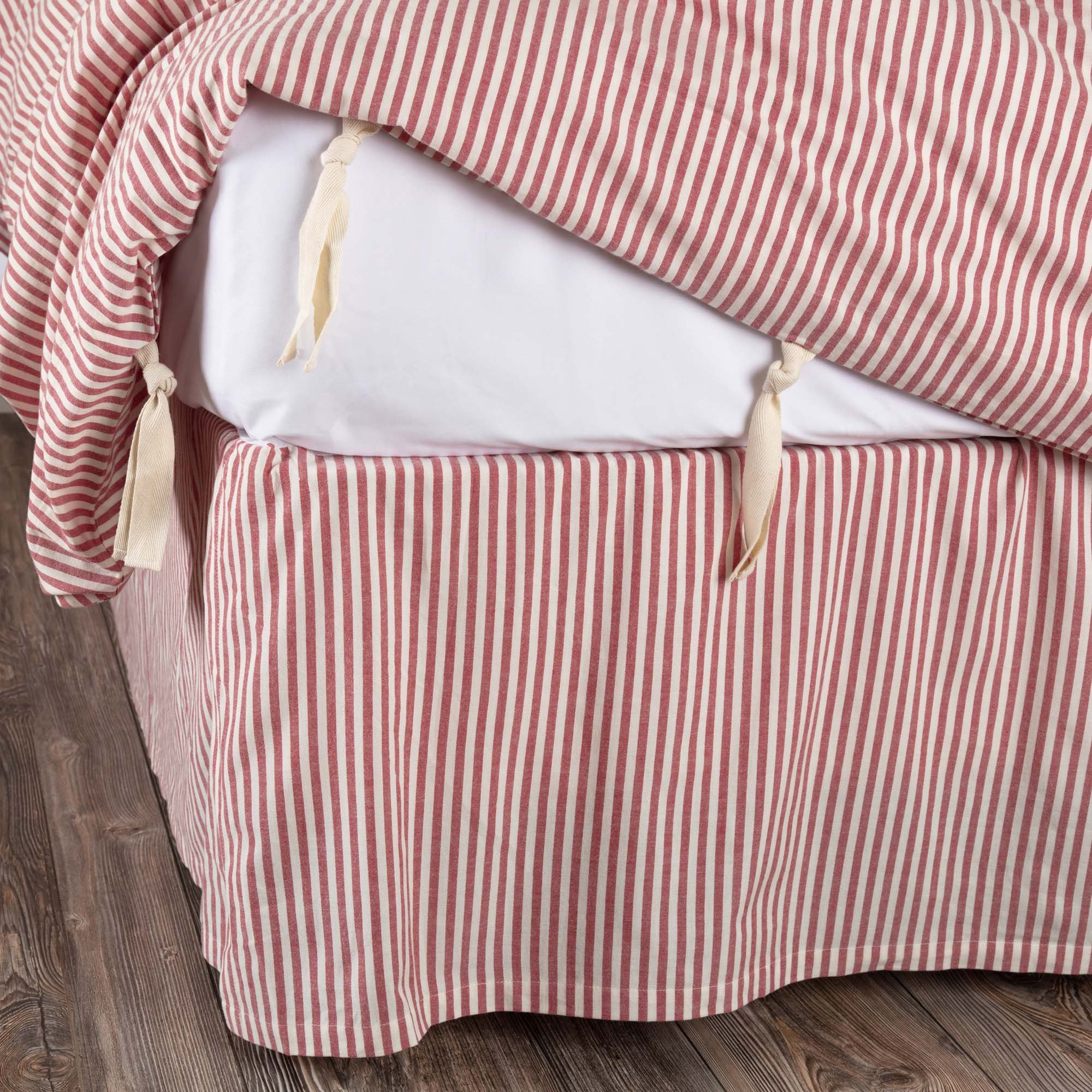 Piper Classics Farmhouse Ticking Stripe Red Queen Bed Skirt, 60'' x 80'', w/16 Drop, Tailored Dust Ruffle