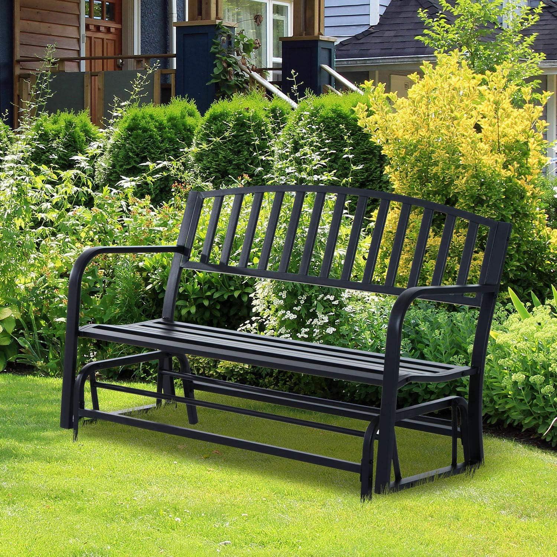 Steel Patio Chairs, Patio Garden Glider 2 Person Outdoor Porch Bench Rocking Chair Yard Furniture