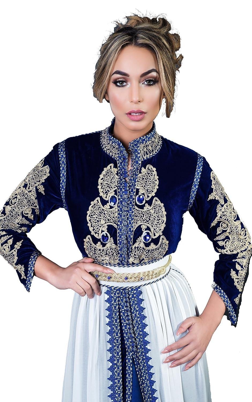 Caftan Vendome Robe Marocaine Velour col Officier  Amazon.fr  Vêtements et  accessoires 077ceedeaf9