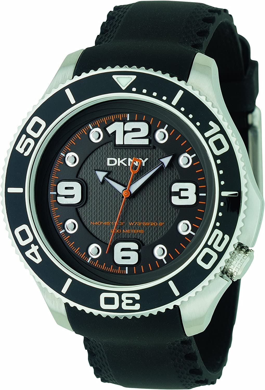 DKNY ny1364Gents Negro Correa de Caucho Reloj con Esfera de Color Negro