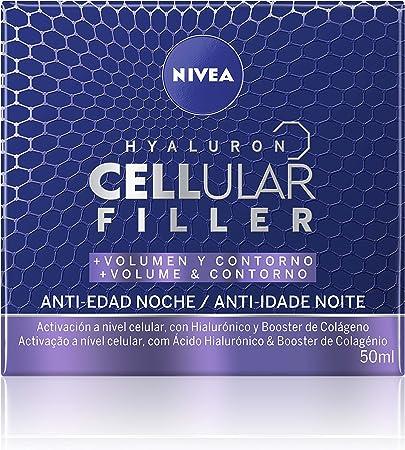 NIVEA Hyaluron Cellular Filler + Volumen y Contorno Cuidado de Noche (1 x 50 ml), crema de noche facial, crema de volumen, crema antiarrugas con ácido hialurónico
