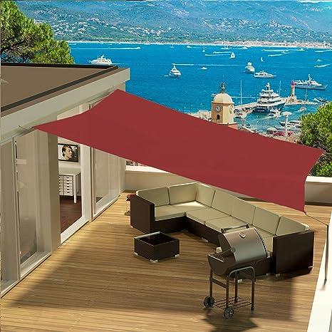 Colore Amaranto EGLEMTEK Tenda Parasole Quadrata a Vela Telo da Sole da Esterno 3x3 m Tessuto in Polietilene Resistente Protezione dai Raggi UV