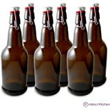 Secure Swing 16 oz Beer Bottles with Ceram-Seal Ceramic Cap for Fermentation & Carbonation of Beer, Soda, & Kombucha - 6 Pack - Amber