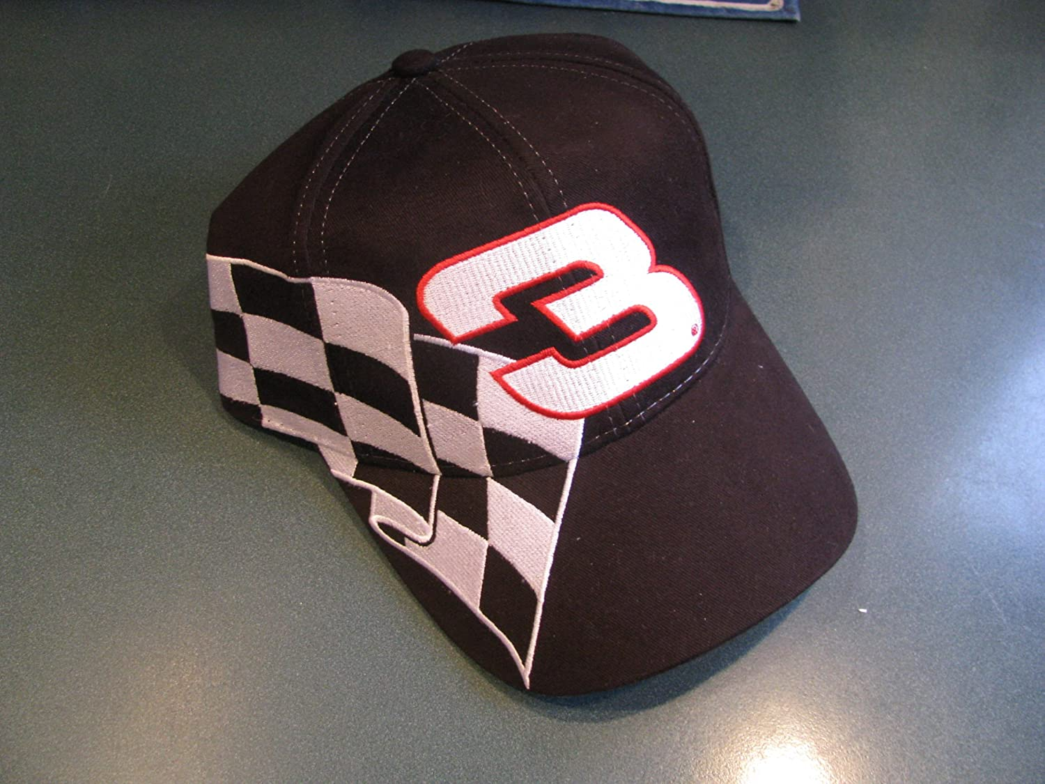 Dale Earnhardt Sr #3 Black With Red White /& Silver Swirl Streaming Accents Goodwrench Service Plus Hat Cap One Size Fits Most OSFM Chase Authentics With Plastic Snapback Strap