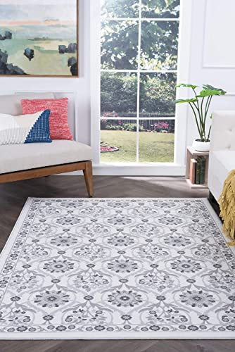 Tayse Eliza Ivory 9×12 Rectangle Area Rug for Living, Bedroom, or Dining Room – Transitional, Floral