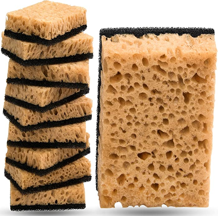 Kitchen Sponge in Vacuum Set Multi-Use [10 Pack] Non-Scratch Dish Sponge for Your Nonstick Cookware, Stove, Fridge, Sink Or Any Other Surface Scrub Sponges for House Cleaning by [Almitra co]