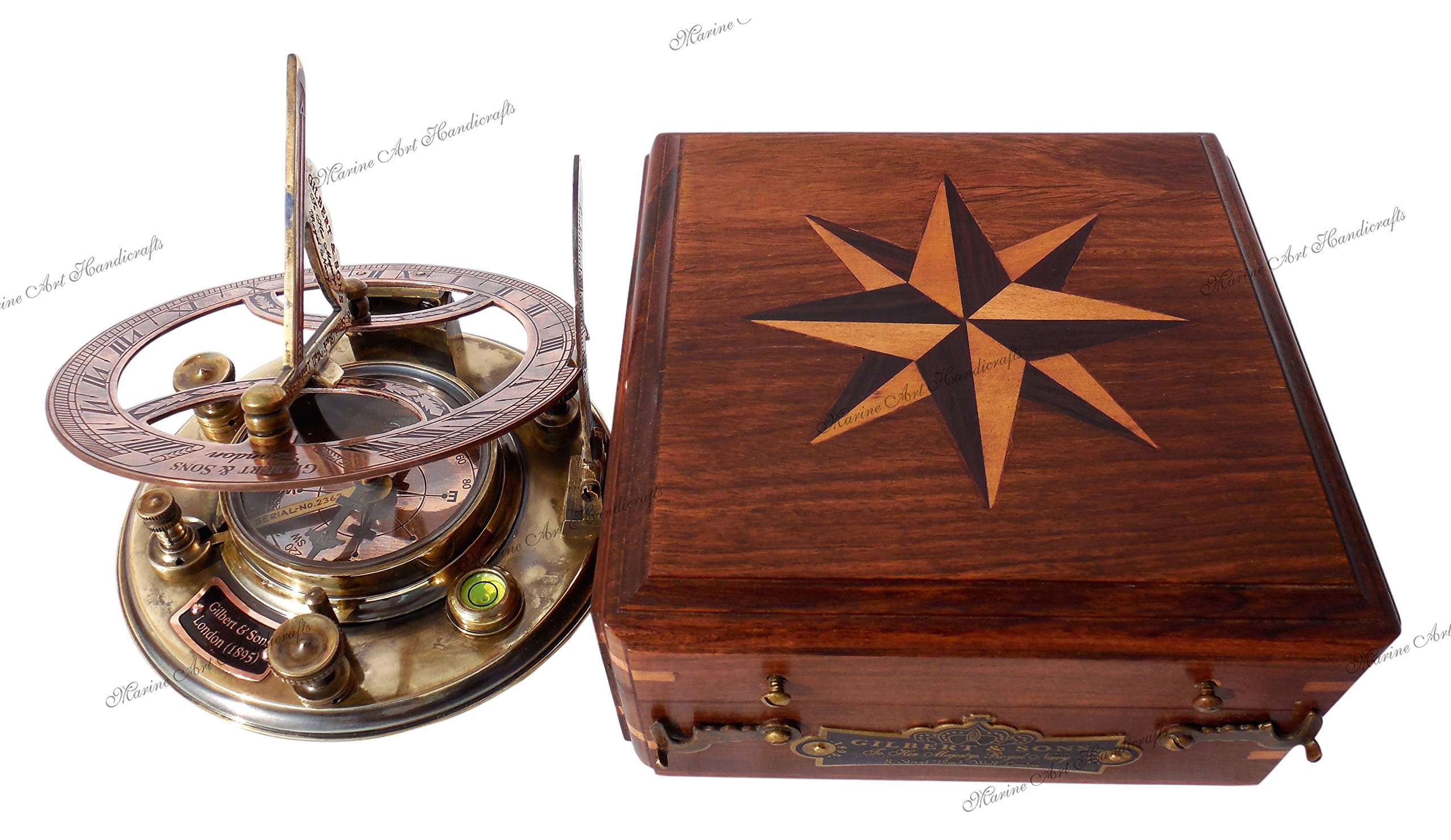 MAH Top Grade 5 Inch Perfectly Calibrated Large Sundial Compass Wooden Box. C-3050 by MAH