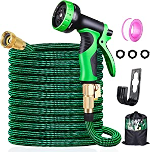 50FT Expandable Garden Hose with 10 Function Nozzle and 3750D Fabric ,Lightweight Water Hose withDurable 4 Layers LatexCore & 3/4