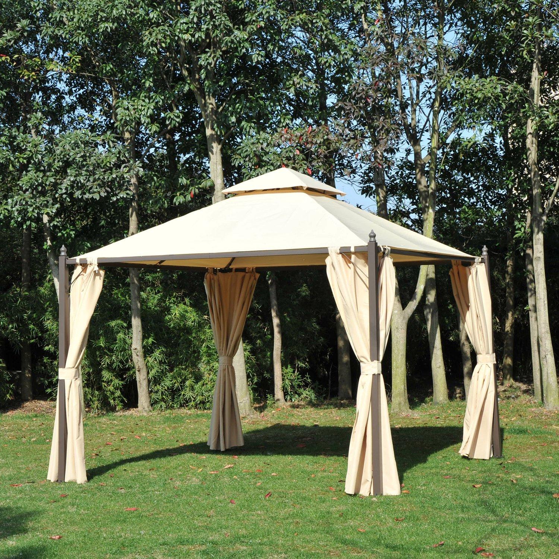 Amazon.de: Outsunny 10 \'x 10\' Stahl Outdoor Garten Pavillon mit ...