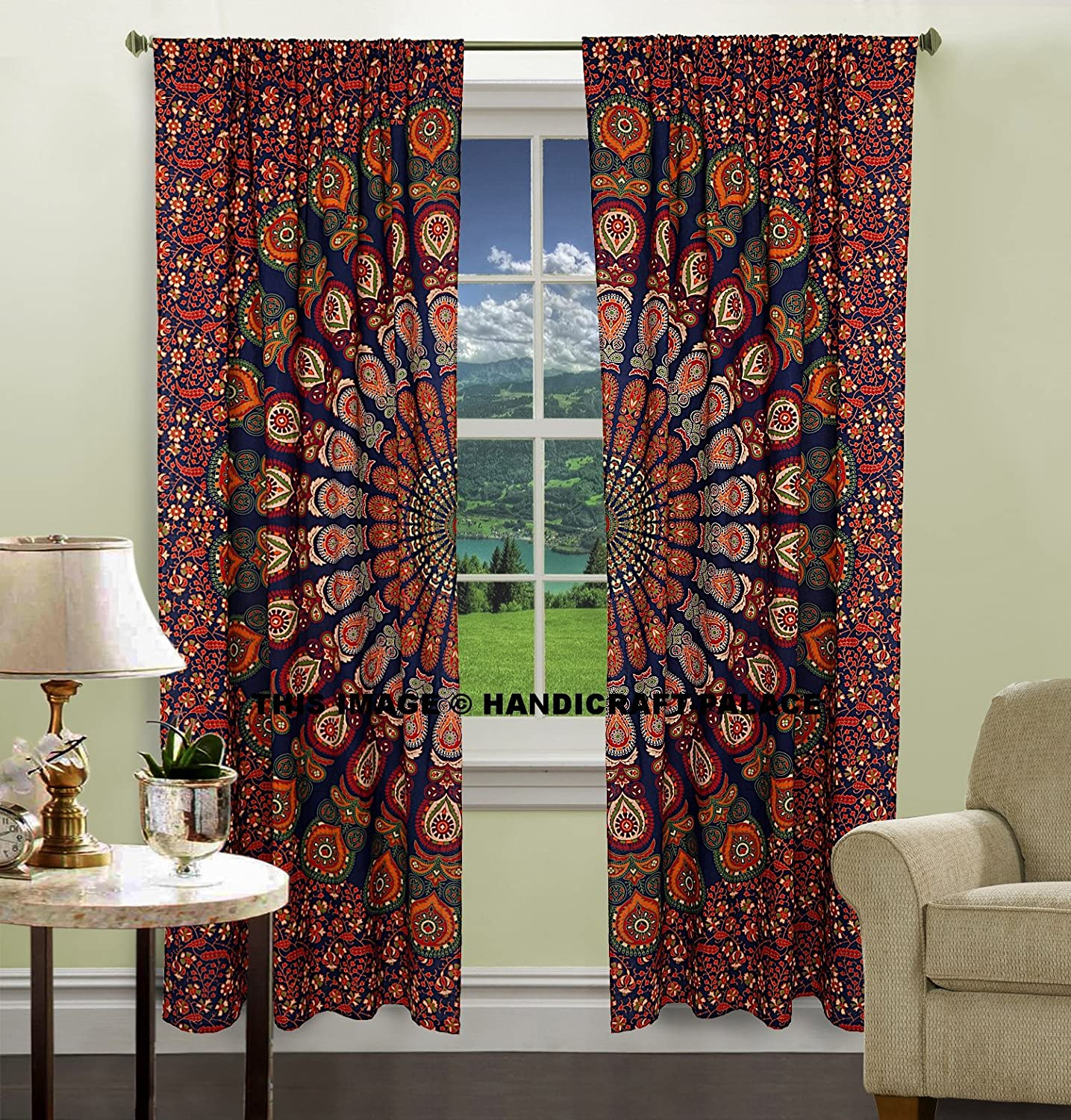 Amazon Indian Peacock Mandala Cotton Hippie Tapestry Door