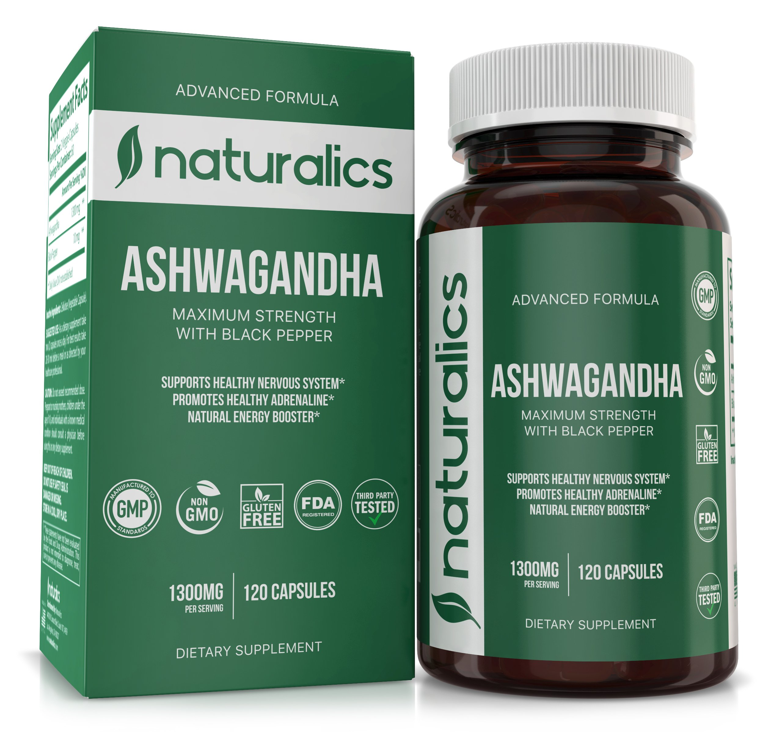 Naturalics™ - Advanced Formula Ashwagandha - Black Pepper Extract For Increased Absorption - Natural & Healthy Stress Support & Mood Enhancer - Immune, Energy & Thyroid Support 60 Servings