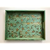 A Midsummer Night's Dream Handmade and Handcrafted Wooden Decorative Coffee Table or Ottoman Tray - Elegant Wooden Home Or Office Decor Accent - With Exclusive Vine and Scroll Design (Green and Gold)