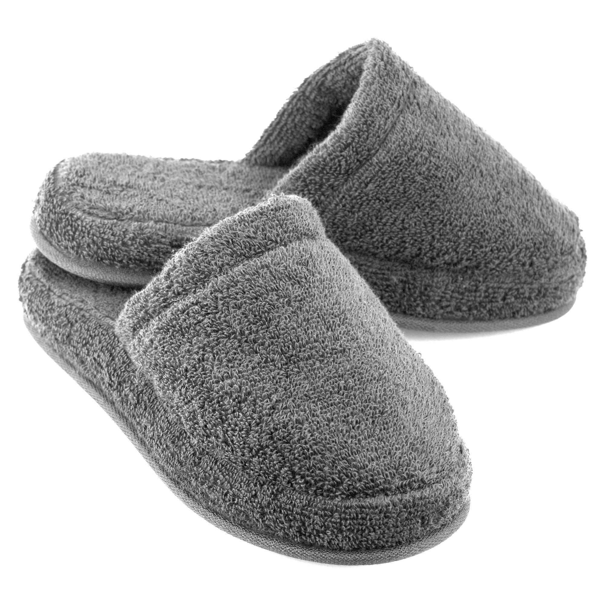 EuropeanSoftest Women's Cozy Memory Foam Premium 100% Turkish Terry Cotton Cloth Spa House Indoor Slipper (Medium / 7-8 B(M) US, Gray)