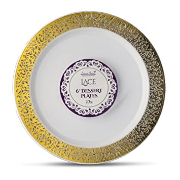 Laura Stein Designer Tableware Premium Heavyweight 6\u0027\u0027 Inch White And Gold Rim Plastic Party  sc 1 st  Amazon.com & Amazon.com: Laura Stein Designer Tableware Premium Heavyweight 6 ...