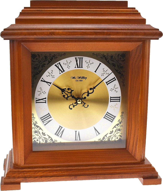 Traditional Walnut Finish Wooden Quartz Mantel Bracket Desk Clock